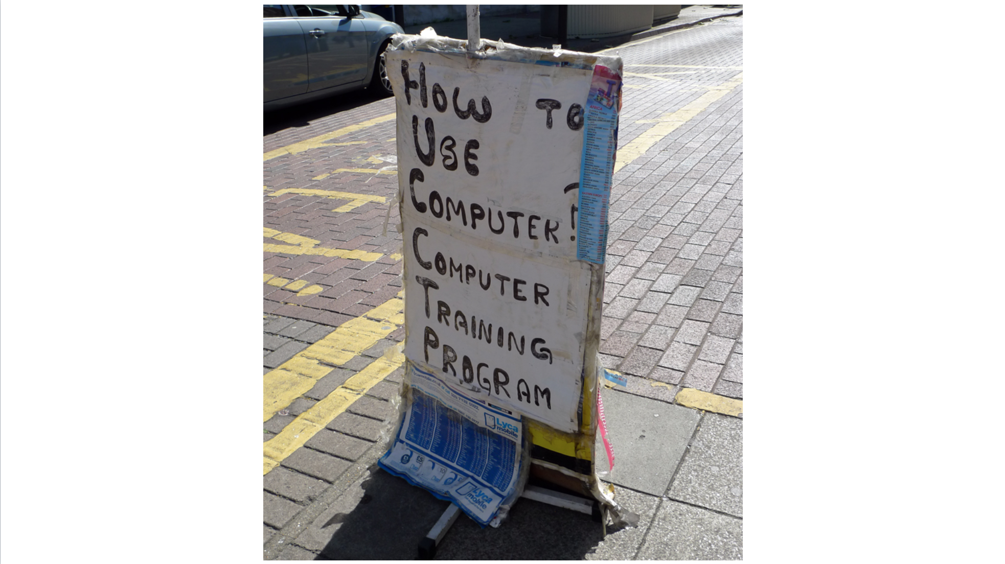Street advert for computer training